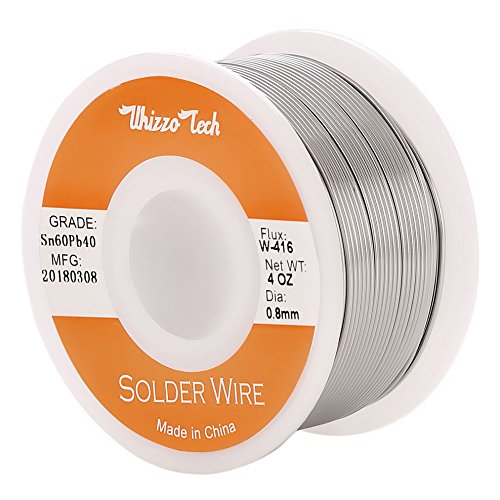 Whizzotech Solder Wire 60/40 Tin/Lead Sn60Pb40 with Flux Rosin Core for Electrical Soldering 4oz/100g Diameter 0.032 Inch/0.8mm (4oz-0.8mm)