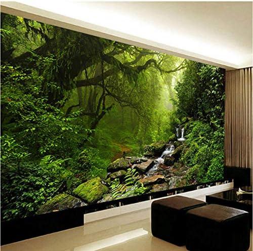 カスタム壁布3D原生林自然風景壁画壁紙寝室リビングルーム家の装飾壁装材3D壁紙 3D壁画自然緑-120X100CM