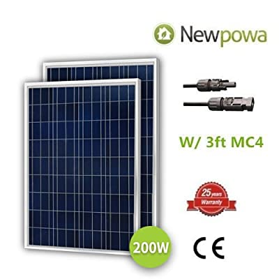 Newpowa 100 Watts 12 Volts Polycrystalline Solar Panel 100W 12V High Efficiency Module Rv Marine Boat Off Grid …