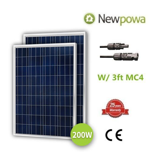 Newpowa 2 Piece 100W Polycrystalline Photovoltaic PV Solar Panel Module, 12V Battery Charging by Newpowa