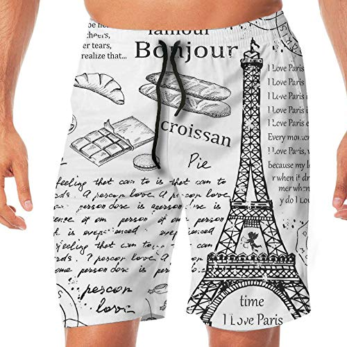 Haixia Men's Printing Swim Short Paris Decor Traditional Famous Parisian Elemen