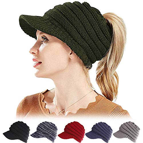 Vencroma Women Winter Ponytail Beanie Hat Warm Stretch Cable Knit Beanie Messy High Bun Visor Beanie Cap (Army Green)