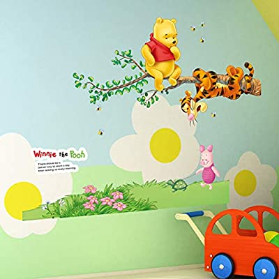 April Wall Stickers Baby Bear Cartoon Winnie Pooh Home Bedroom Decals Wall Stickers for Kids Rooms Wall Decals Nursery Party Supply Gifts Poster: Home & Kitchen
