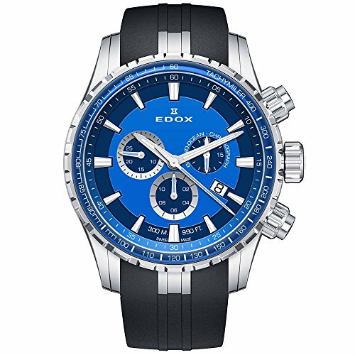 e1166ceb3092 Edox Men s Grand Ocean Stainless Steel Swiss-Quartz Diving Watch with  Rubber Strap