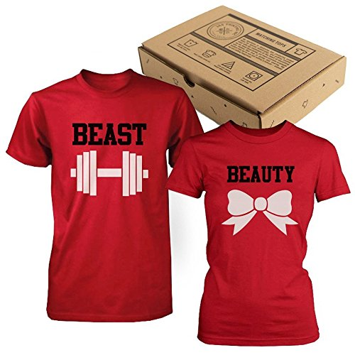 Beauty and Beast Couple Tshirts Cute Matching Shirts (MEN-M / WOMEN-S) (Couples Outfit)