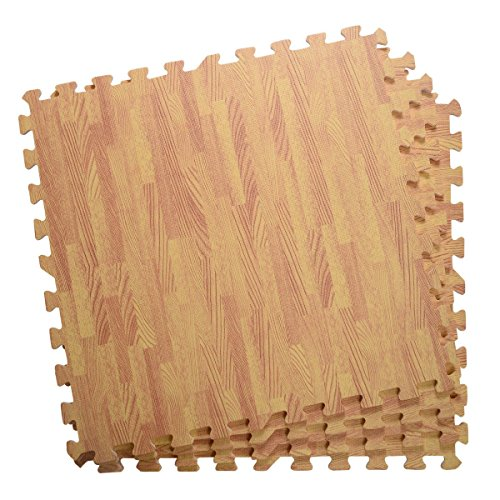 48 Sq Ft EVA Foam Floor Interlocking Mat Show Floor Gym Mat Wood Color by Unknown