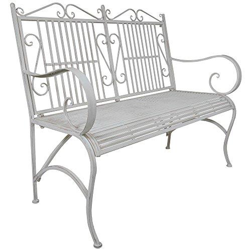 Titan Outdoor Antique White Metal Bench Chair Porch Patio Garden Deck Decor (Garden Chairs Metal)