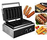 BestEquip 1500W Lolly Waffle Maker 100V 6pcs Waffle Baking Commercial Sausage Waffle Maker Non-stick French Muffin Hot Dog Machine for Waffle Making and Sausage Corn Baking