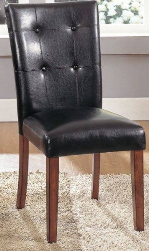 Tufted Back Dark Brown Vinyl Parsons Chair Or Stoo