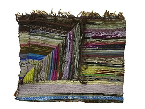 Fair Trade Handmade Rag Rug Chindi Rug Multi Colored Indian Mat Recycled Rug Boho Decorative Rug(5ftx3ft) (Brown)
