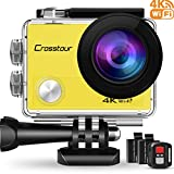 Crosstour Action Camera 4K WiFi Underwater Cam 16MP Sports Camera with Remote Control 170°Wide-Angle 2 Inch LCD Plus 2 Rechargeable 1050mAh Batteries and Mounting Accessories Kits (Yellow)
