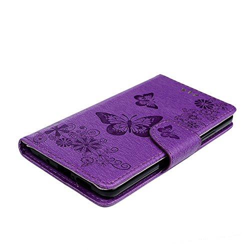 Funda Huawei Mate 10 Libro de Cuero Con Tapa y Cartera Carcasa PU Cuero Con TPU Silicona Case Interna Suave Soporte Plegable Ranuras para Tarjetas y Billetera Cierre Magnético - GEMYON Violeta