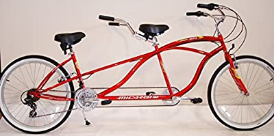 "J Bikes by Micargi Island 26"" 18-Speed 2-Seater Tandem Bicycle Beach Cruiser Bike - Red"
