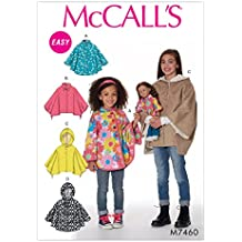 """MCCALLS M7460 (SIZE 3-6) Children's/Girls'/18"""" Dolls' Ponchos with Stand-Up Collar or Hood SEWING PATTERN"""