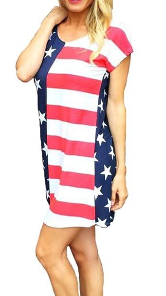 992904b454 Ytwysj Women Summer 4th July Vintage American Flag Print Patriotic Star  Strapless Short Sleeve Tee Dress Sundress at Amazon Women s Clothing store