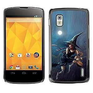 LG Nexus 4 E960 - Metal de aluminio y de plástico duro Caja del teléfono - Negro - Halloween Sexy Witch
