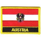 Flaggen Aufnäher Patch Österreich mit Wappen Schrift