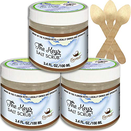 The Keys Salt Scrub : Premium Exfoliating Sea Salt Body Skin Scrubs (Coconut, Travel Size 3 Pack 3.4 oz)