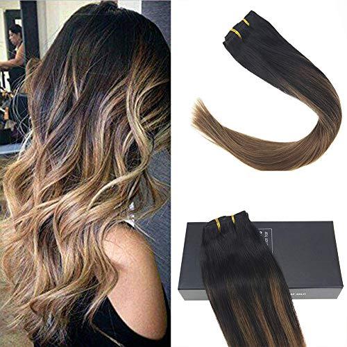 Sunny 22inch Brazilian Human Hair Clip in Hair Extensions Dip Dye Balayage Natural Black Fading to Light Brown Double Weft Clip in Hair Extensions 7pcs 120g/set ()
