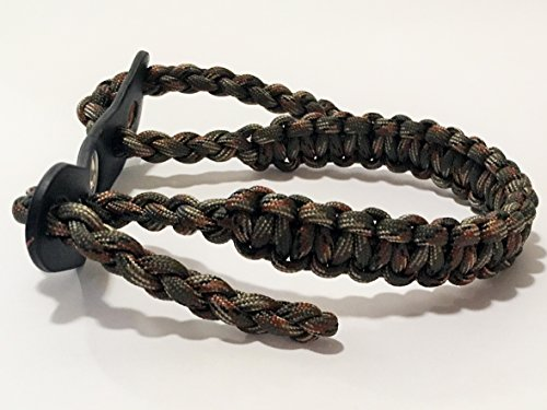 Ten Point Gear Bow Archery Wrist Sling 550 Paracord – Survival Hunting Shooting – Durable Leather with Metal Grommet (Multiple Color Options) (Big Woods Camo)