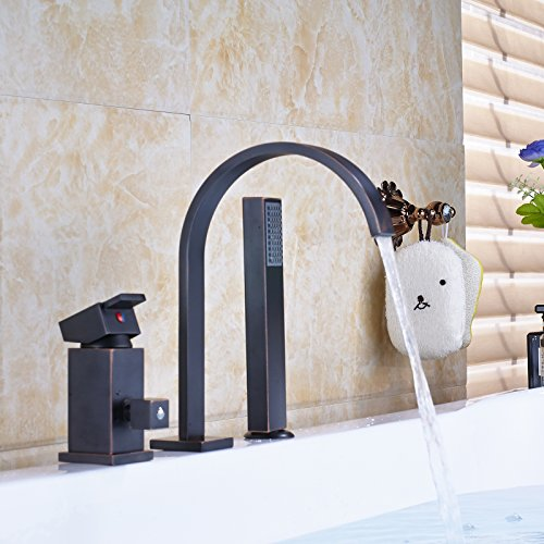 Deck Mounted Diverter (Rozin Deck Mounted Single Lever Mixer Controm Bathroom Sink Faucet with Handheld Shower Oil Rubbed Bronze)
