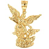 Fine 10k Yellow Gold Saint Michael The Archangel Charm Pendant