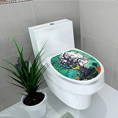 Printsonne Decal Wall Art Decor Trick Treat Halloween Theme Dead Forest Spooky Tree GravesMushrooms Toilet Decoration W12 x L14]()