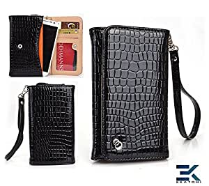 [Diva] Sony Xperia M2 Case - BLACK | Women's Wallet Wrist-let Universal Phone Clutch. Bonus Ekatomi Screen Cleaner