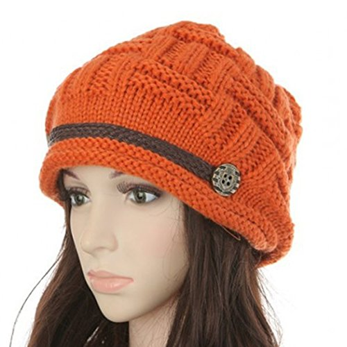 Kafeimali Women's Braided Warm Winter Baggy Beanie Oversized Crochet Ski Hats Knit Caps Snowboard Caps (Red)