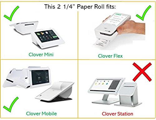 2 1/4'' Thermal Paper Roll (10 Rolls) for Clover Flex/Mini / Portable-Mobile, Ingenico iCT220 / 250, Verifone VX