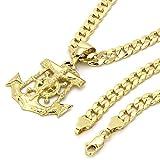 14k Gold Plated on Brass Hip Hop Anchor Pendant w/6mm 30' Cuban Hip hop Chain