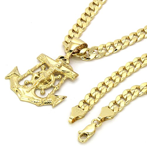 14k Gold Plated on Brass Hip Hop Anchor Pendant w/6mm 30