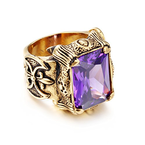 NELSON KENT Men's Punk Gothic Extreme Purple Zircon Titanium Steel Gold Casting Ring Size (Purple Titanium Ring)