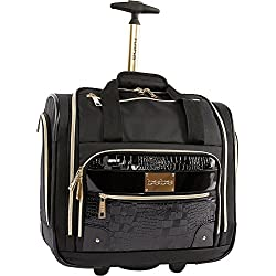 BEBE Women's Danielle-Wheeled Under the Seat Carry on Bag, Black Croc
