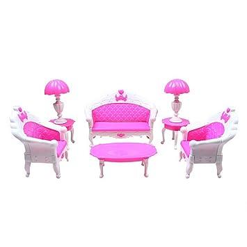 Generic 6Pcs Lot Dollhouse Furniture Living Room Parlour Sofa Chair Set Plastic For Barbie Toy
