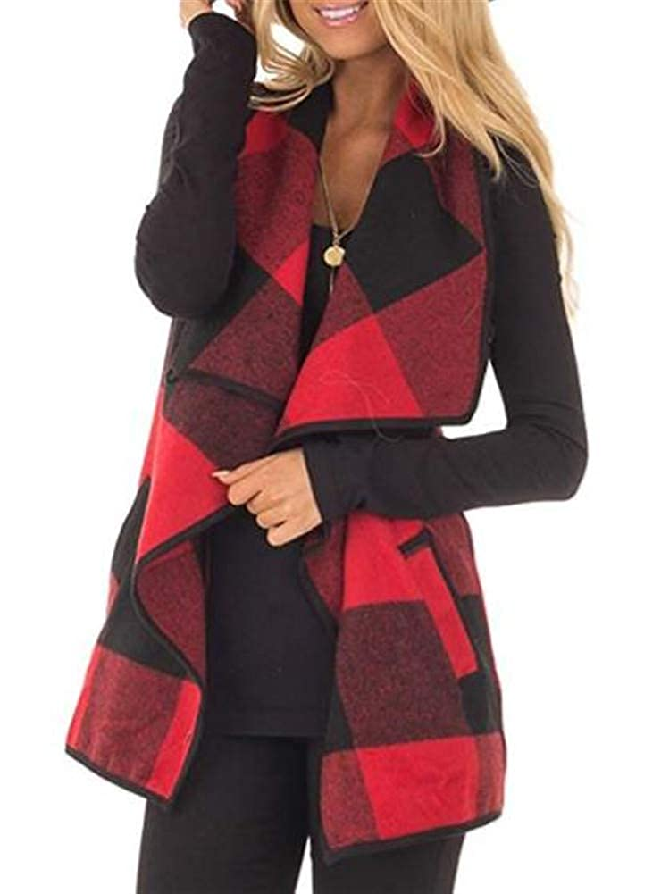 Ibeliver Womens Sleeveless Plaid Vest Lapel Cardigan Open Front Jacket with Pockets