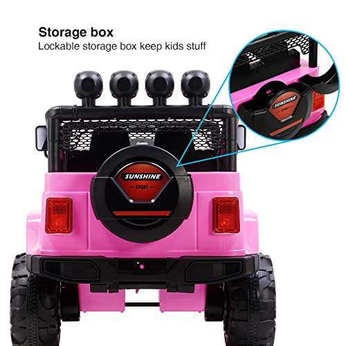 Uenjoy Electric Kids Ride On Cars 12V Battery Motorized Vehicles W/ Wheels Suspension, Remote Control, Music& Story Playing, Colorful Lights, Sunshine Model, Pink by Uenjoy (Image #6)
