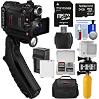 Olympus Tough TG-Tracker UHD 4K Wi-Fi Shock Waterproof Video Camera Camcorder (Black) + 64GB Card + Battery/Charger + Video Light + Buoy + Case Kit