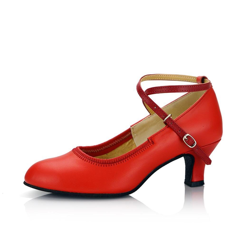 BYLE Leder Sandalen Riemchen Samba Modern Jazz Dance Schuhe Leder Tanz Schuh Nach Weichen Sommer Rot 5 5CM