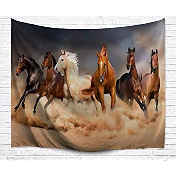 AMonamour Brown Khaki Color Backgrounds Six Horse Running Rural Country Scenery Animal Print Fabric