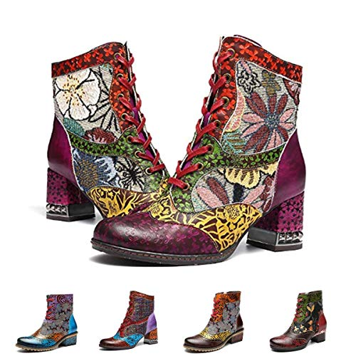 gracosy Leather Ankle Boots for Women, Block Heel Vintage Side Zipper Floral Pattern Boots Lace up with Warm Lining Purple-Without Fur 8 M ()