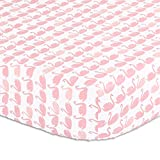 Coral Pink Swan Print Fitted Crib Sheet - 100% Cotton Baby Girl Nature and Animal Theme Nursery and Toddler Bedding