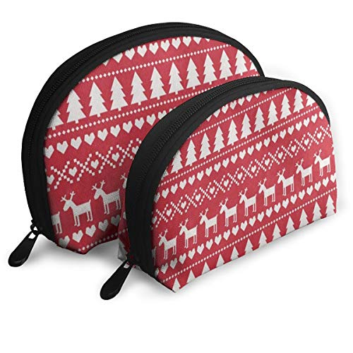 Makeup Bag Merry Christmas Reindeer Tree Red Portable Shell Toiletry Organizer For Women Halloween Gift Pack - 2
