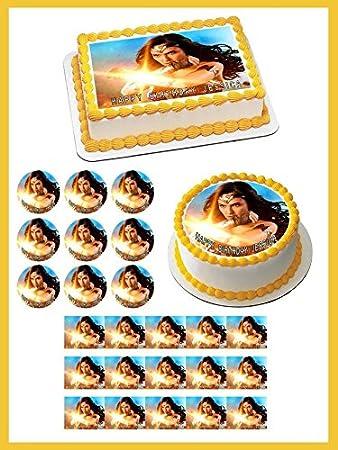 Amazon Com Wonder Woman 2 Edible Cake Topper Cupcake Toppers