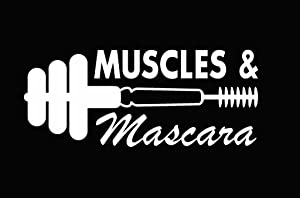 CCI Muscles & Mascara Weights and Make-up Decal Vinyl Sticker|Cars Trucks Vans Walls Laptop|White |7.5 x 3.2 in|CCI1817
