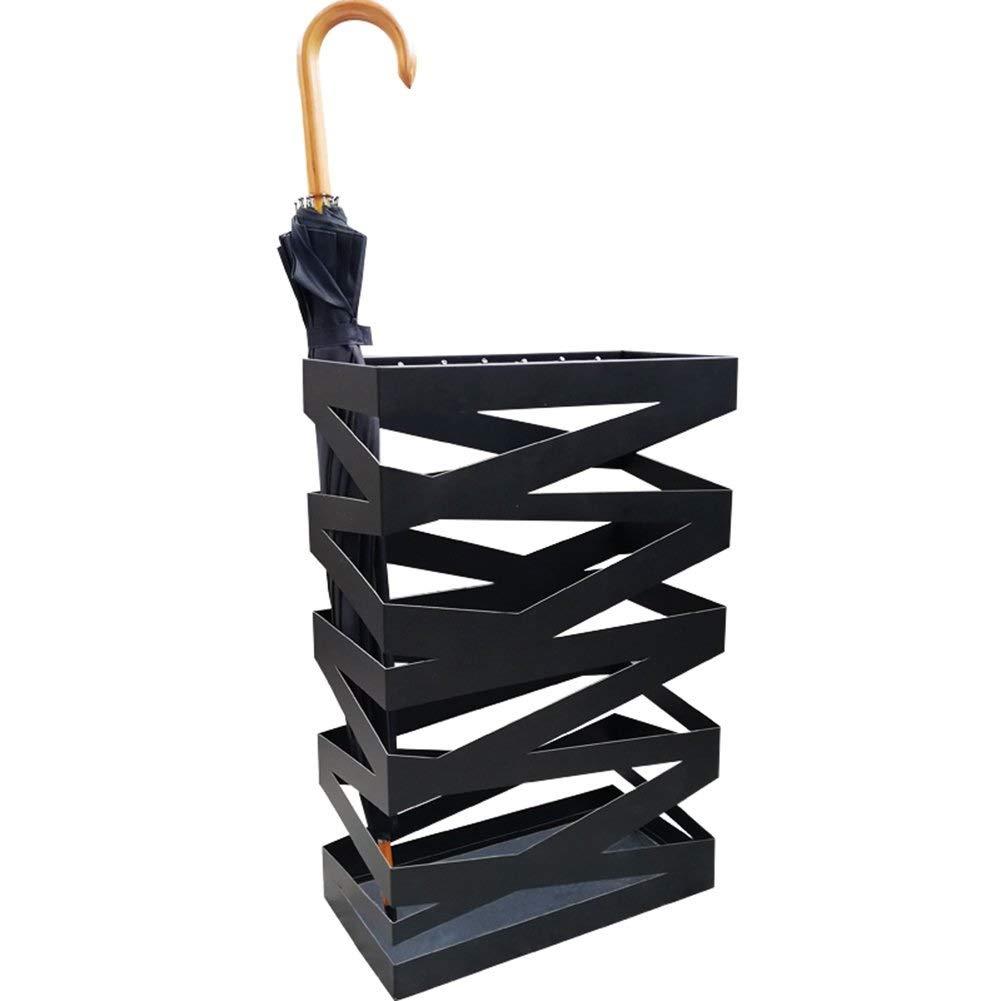 滴りの皿が付いている金属の傘の立場の黒傘の立場のテラスの正方形の家の傘の立場の床40 * 20 * 60 Cm B07QQY88J2