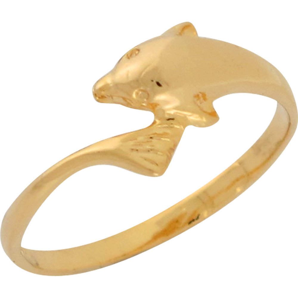 14k Yellow Gold Cute Dolphin Wrap Ladies Ring