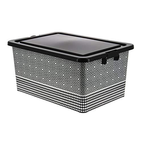 51,5 x 36,5 x 25 cm Noir et Blanc AUCUNE 3221320657805 Bo/îte de rangement en plastique Ethnic 35L