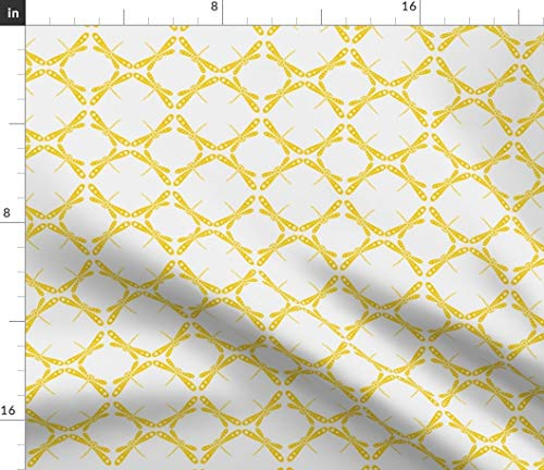 (Spoonflower Yellow Dragonfly Fabric - Dance Sun Nursery Decor Whimsical Dots Circles Geometric Retro Abstract Print on Fabric by The Yard - Minky for Sewing Baby Blankets Quilt Backing Plush)