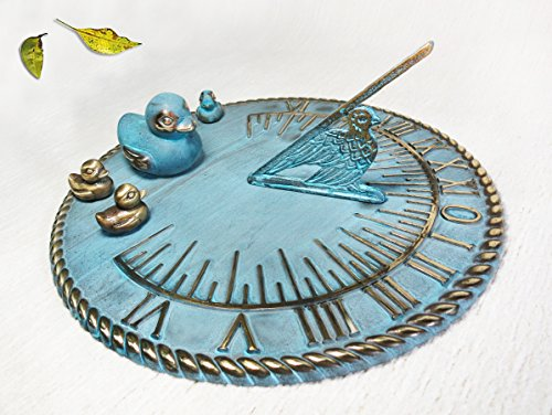 Brass Decorative Sundial 10'' Inches Wide - With 4 Ducks by Taiwan